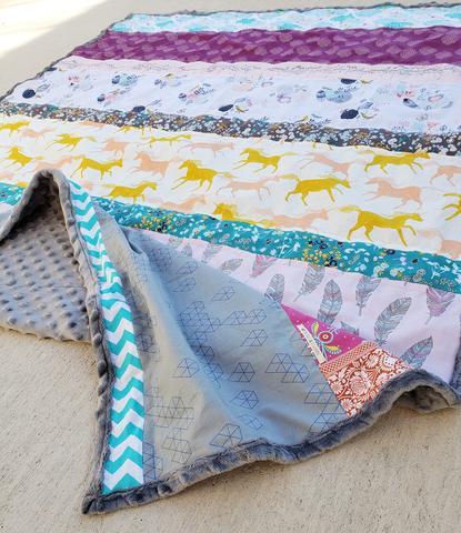 Quick Strip Minky Blanket by La Rue de Fleurs