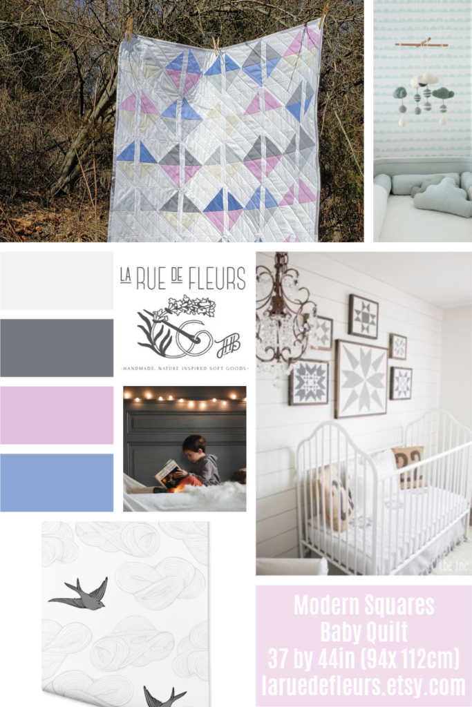 Shattered Squares Ice, Ice baby Quilt Nursery Mood Board